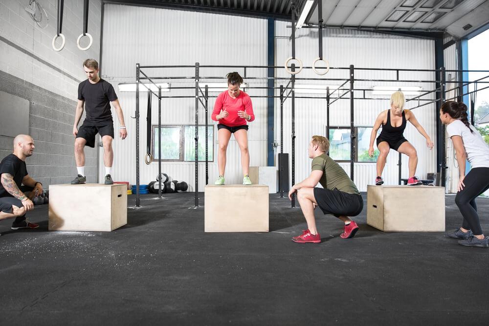 Crossfit,Group,Trains,Box,Jump